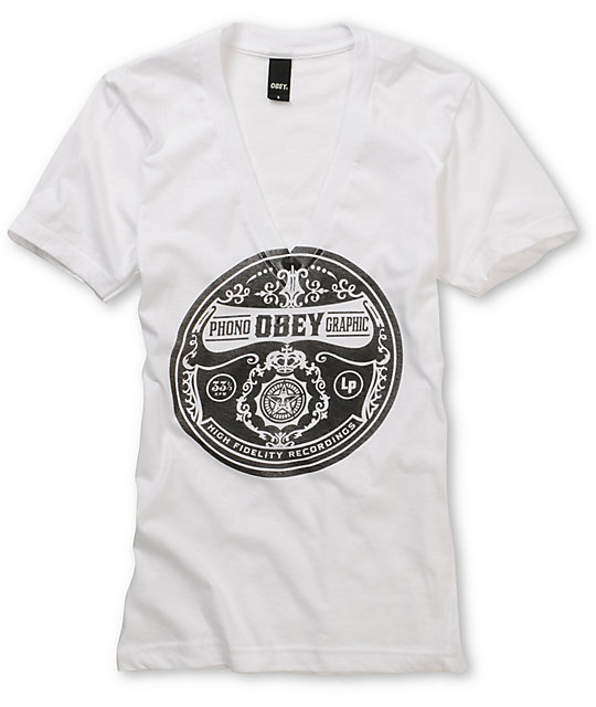 Obey Phonographic White Deep V Neck T Shirt
