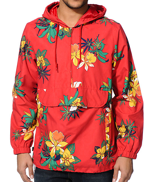 Obey Pipeline Red Floral Windbreaker Jacket at Zumiez : PDP