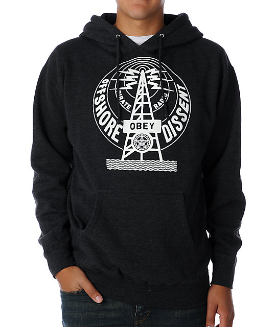 Obey Pirate Radio Glow In The Dark Charcoal Hoodie