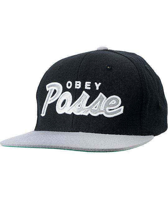 Obey Posse Black Snapback Hat
