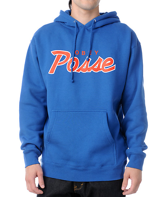 Obey Posse Script Royal & Red Pullover Hoodie
