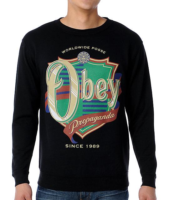 Obey Posse Shield Black Crew Neck Sweatshirt