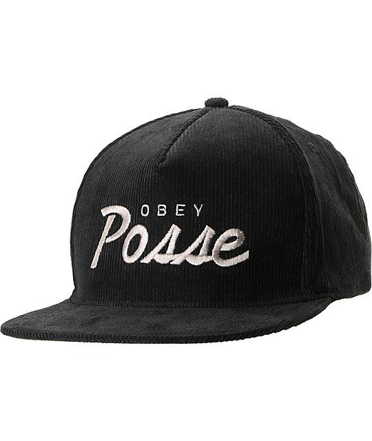 Obey Postgame Black Corduroy Snapback Hat