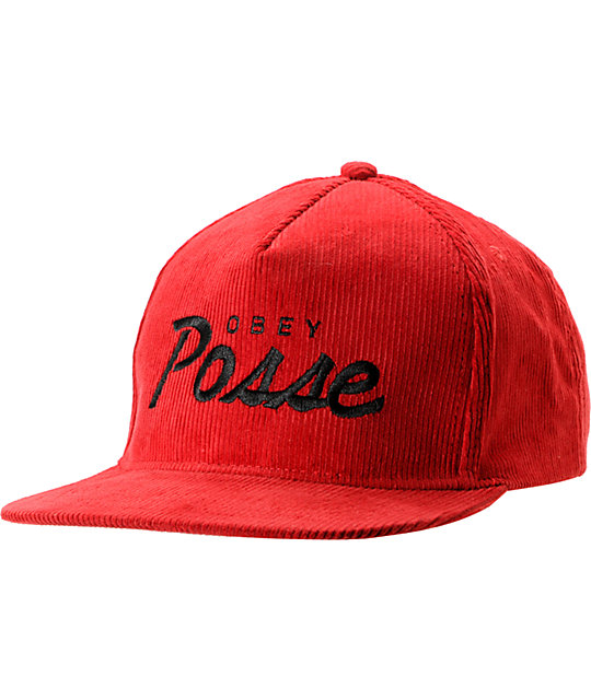 Obey Postgame Red Corduroy Snapback Hat