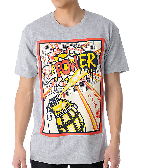 Obey Power Heather Grey T-Shirt