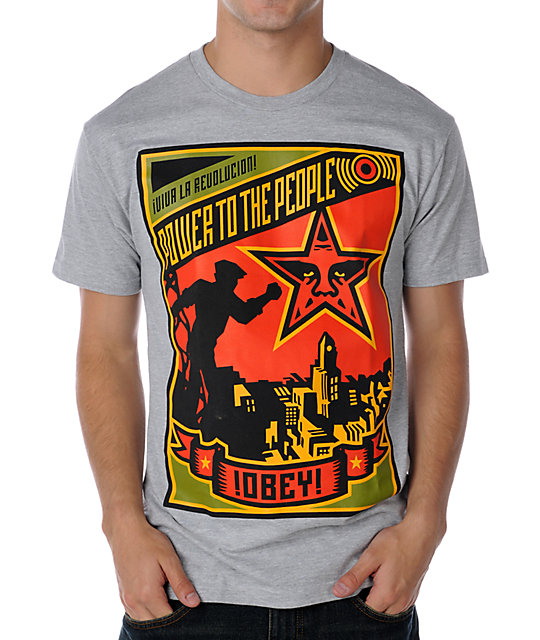 Obey Power To The People Heather Grey T-Shirt