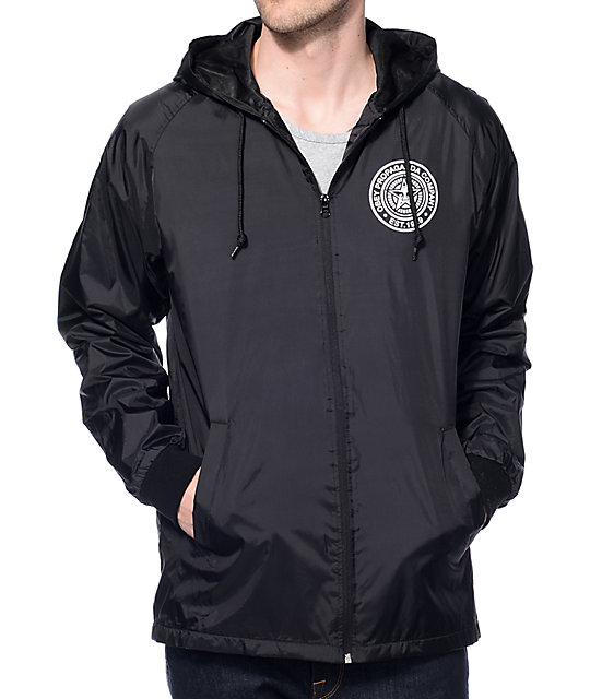 Obey Propaganda Black Hooded Coach Jacket