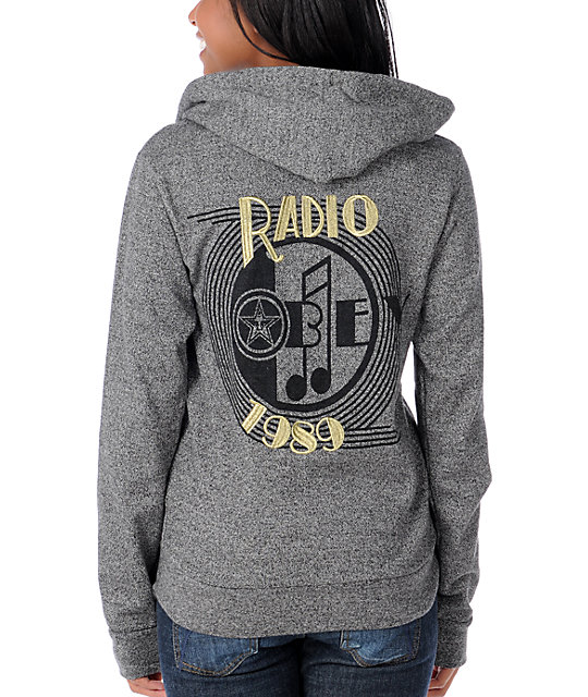 Obey Radio Charcoal Zip Up Hoodie