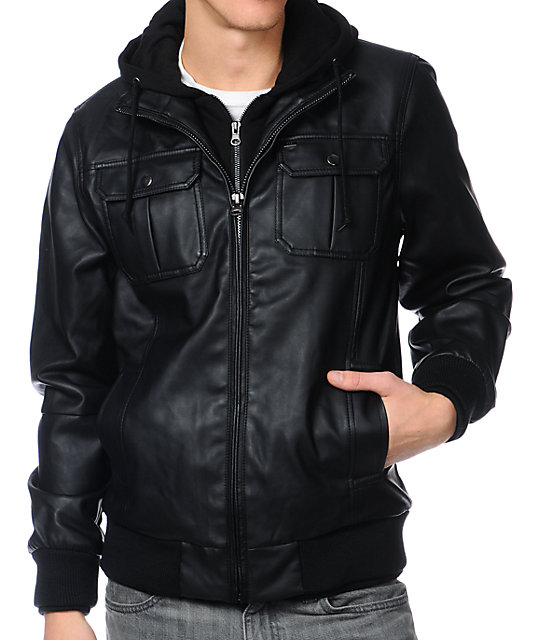 Obey Rapture Black Faux Leather Hooded Jacket