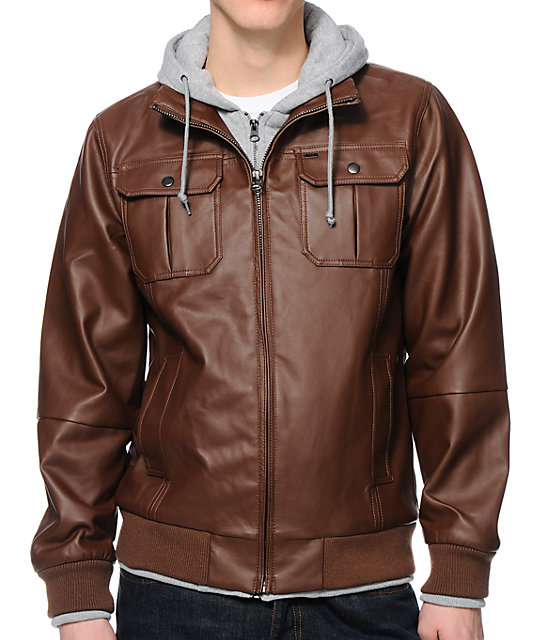 Obey Rapture Brown Faux Leather Hooded Jacket | Zumiez