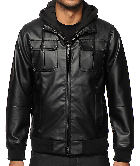 Obey leather jacket with hoodie