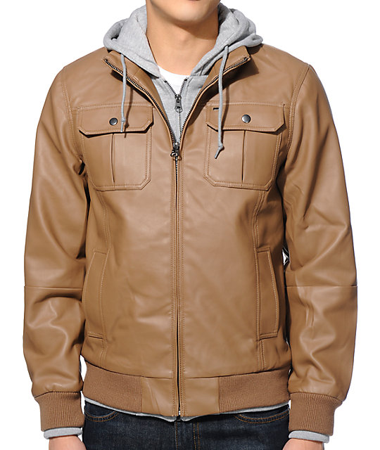 Obey Rapture Light Brown Faux Leather Hooded Jacket at Zumiez : PDP