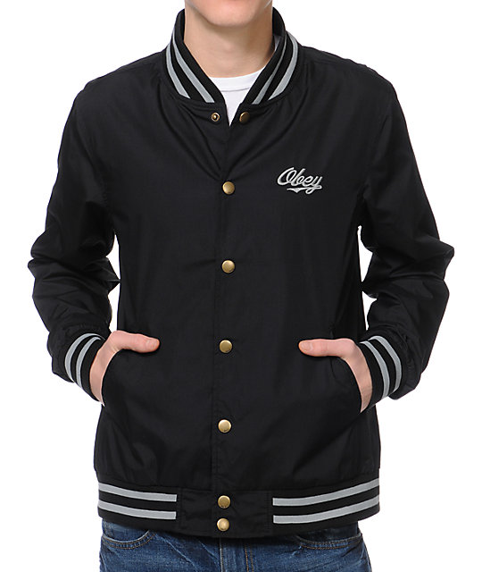 Obey Rebel Black Varsity Jacket