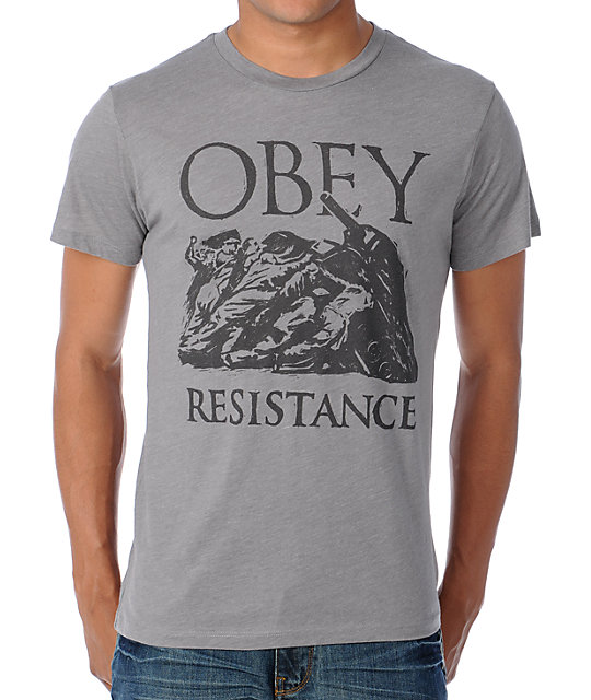 Obey Resistance Heather Grey T-Shirt