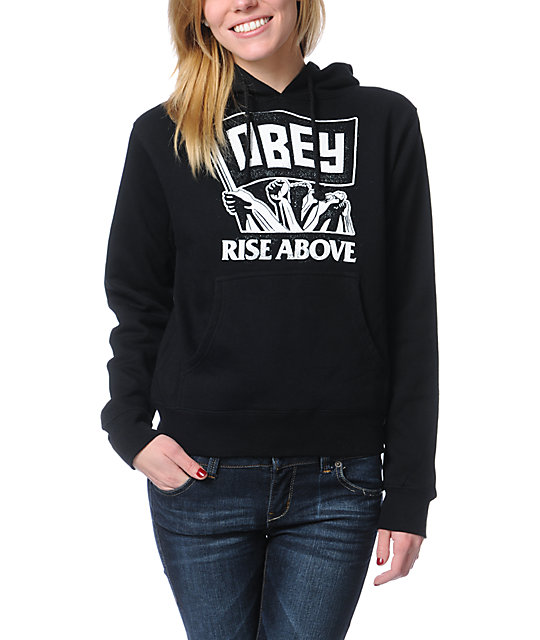 Obey Rise Above Black Pullover Hoodie