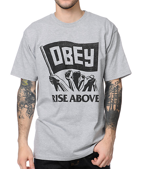 Obey Rise Above Heather Grey T-Shirt