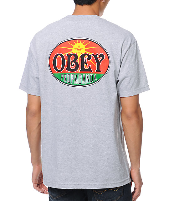 Obey Rising Sun Heather Grey Pocket T-Shirt