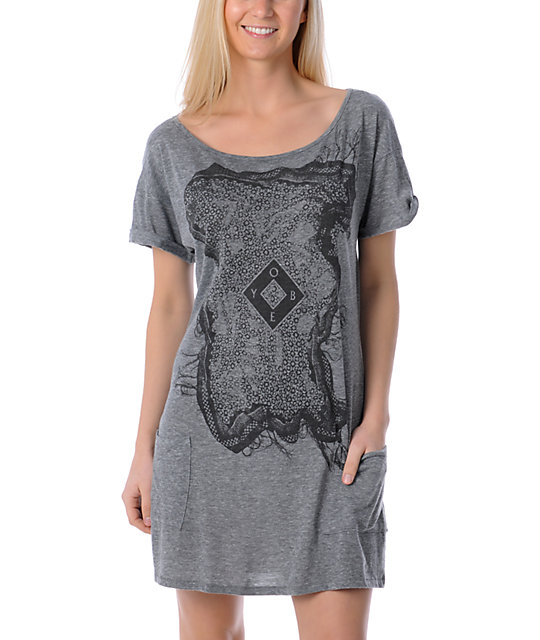 Obey Romanian Afternoon Grey T-Shirt Dress