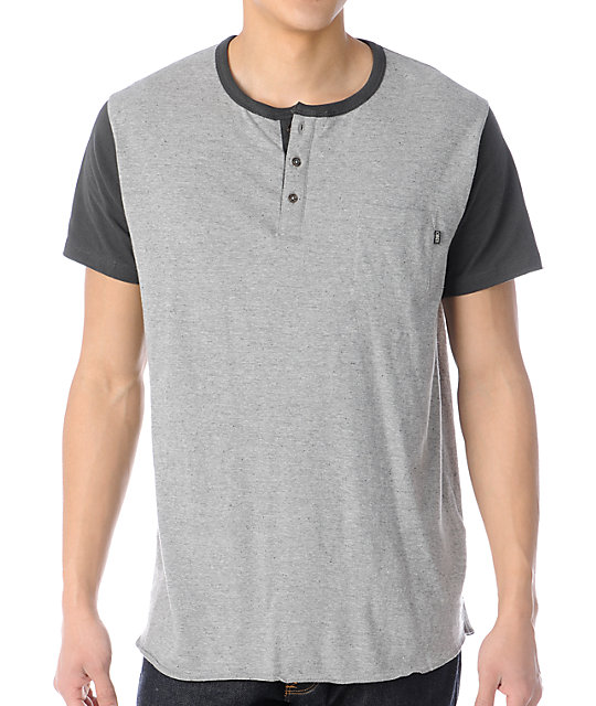 Obey Rookie Heather Grey Henley Baseball T-Shirt