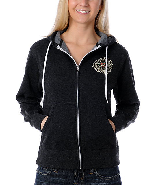Obey Rose Girl Charcoal Zip Up Hoodie