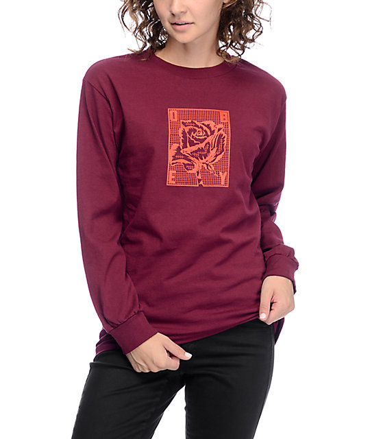 Rose Grid Burgundy Long Sleeve T-Shirt