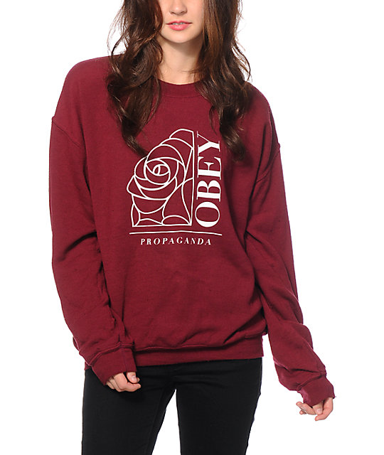 Obey Rose Noir Crew Neck Sweatshirt at Zumiez : PDP