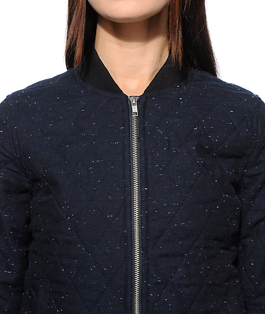 Obey Rumson Navy Quilted Bomber Jacket