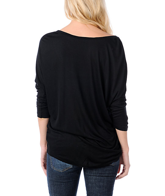 Obey Safari Black Wide Neck Dolman Top
