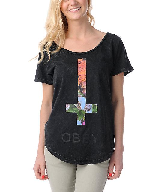 Obey Salem Spring Black Mineral Wash Dolman T-Shirt