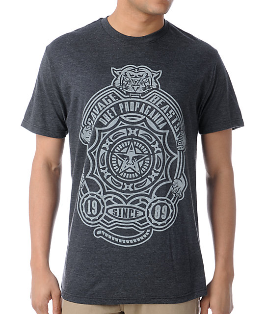 Obey Savage Beasts Charcoal Heather T-Shirt