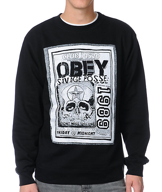 Obey Savage Posse Flyer Black Crew Neck Sweatshirt