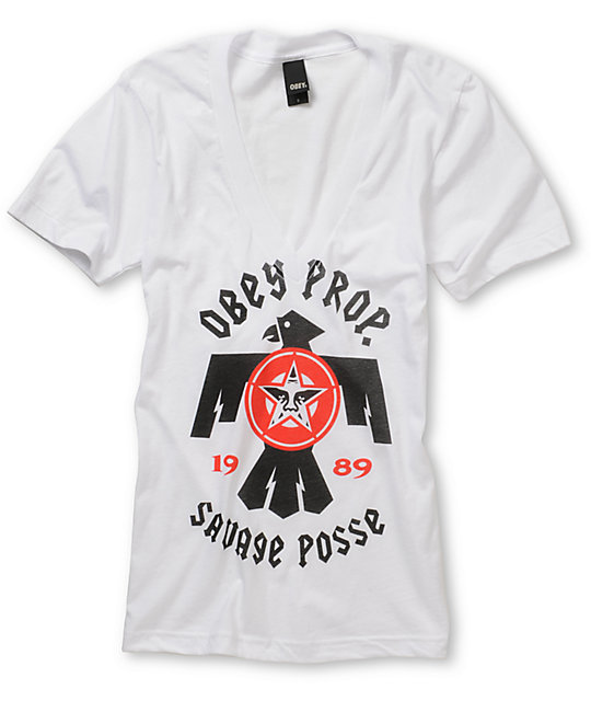 Obey Savage Posse White V-Neck T-Shirt