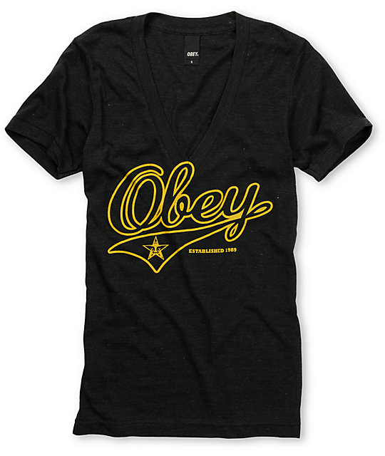 Obey Script Charcoal Deep V-Neck T-Shirt