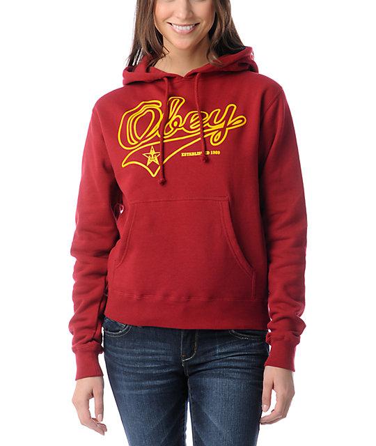 Obey Script Garnet Red Pullover Hoodie