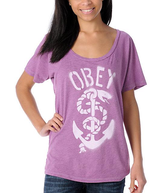 Obey Serpent  & Anchor Berry T-Shirt