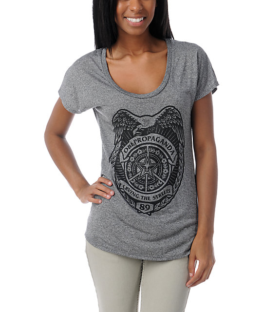 Obey Serving Streets Grey Mock Twist T-Shirt