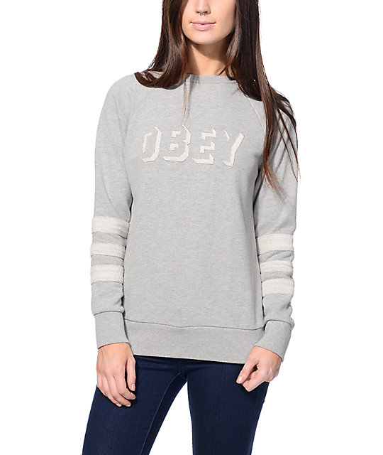 Obey Shadow Stripe Heather Grey Crew Neck Sweatshirt