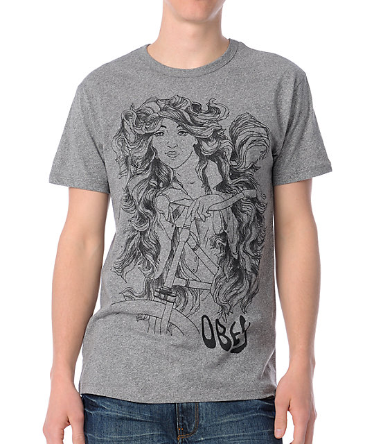 Obey She Rides Heather Grey T-Shirt