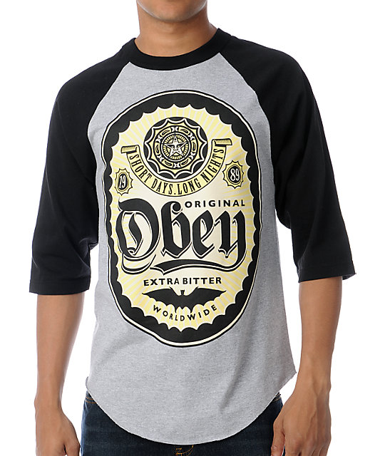 Obey Short Days, Long Nights Black & Grey Baseball T-Shirt