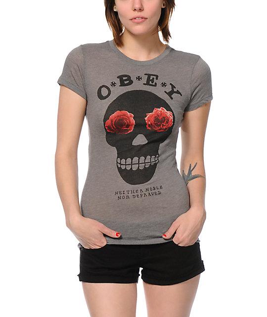 Obey Sinner Heather Grey Crew T-Shirt
