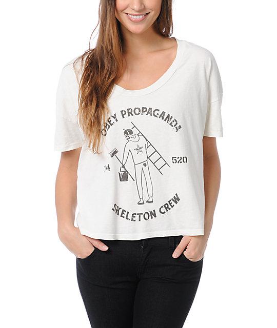 Obey Skeleton Crew Grey Vintage Crop T-Shirt