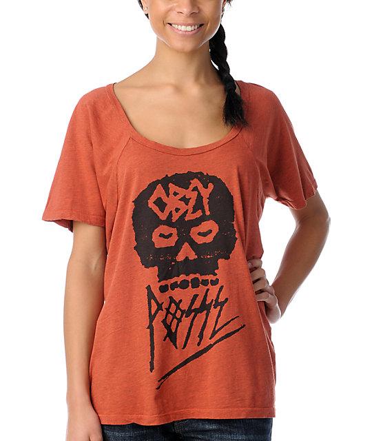 Obey Skull Posse Orange Raglan Dolman T-Shirt