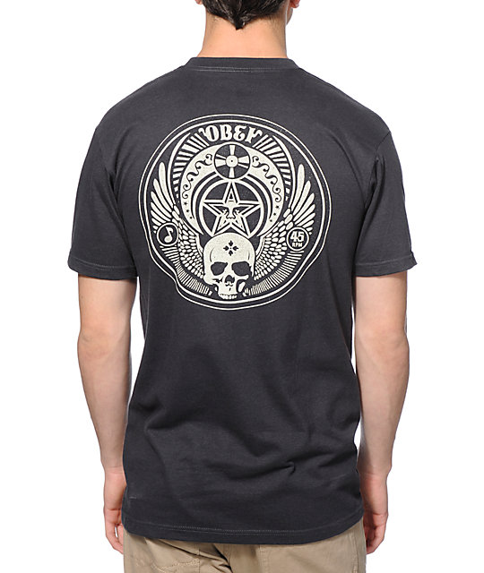 Obey Skull and Wings Charcoal T-Shirt