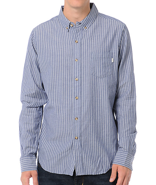 Obey Smith Blue Striped Long Sleeve Button Up Shirt