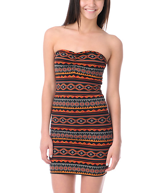 Obey Southwest Summer Body Con Strapless Dress