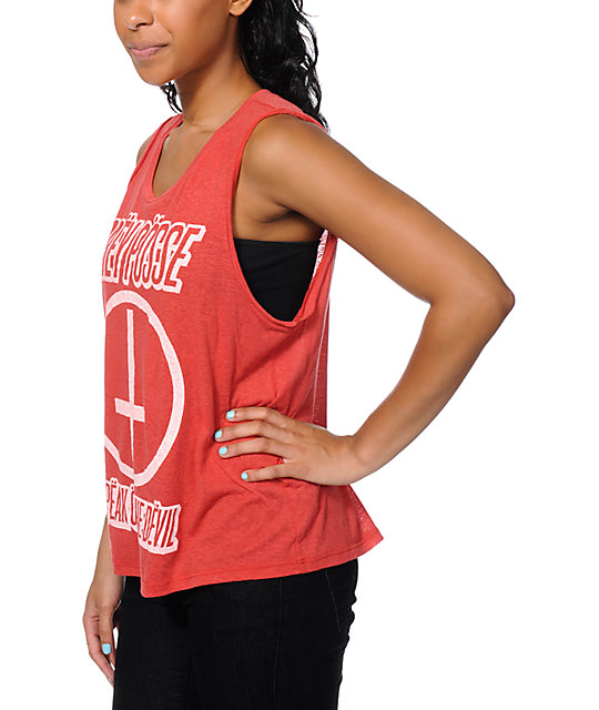 Obey Speak Of The Devil Red Felon Cut Off Tank Top