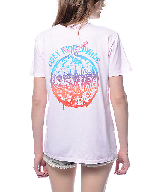 Obey Spill Classic Pink T-Shirt
