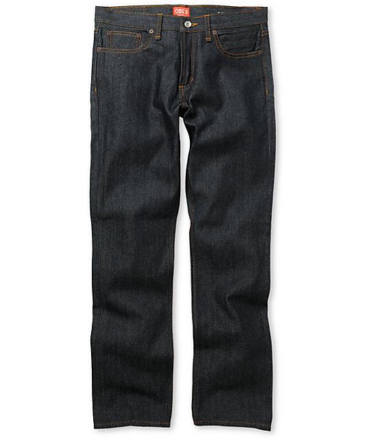 Obey Standard Issue Raw Indigo Blue Regular Fit Jeans