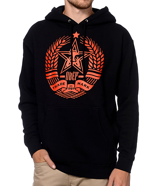 Obey Star Crest Black & Red Pullover Hoodie