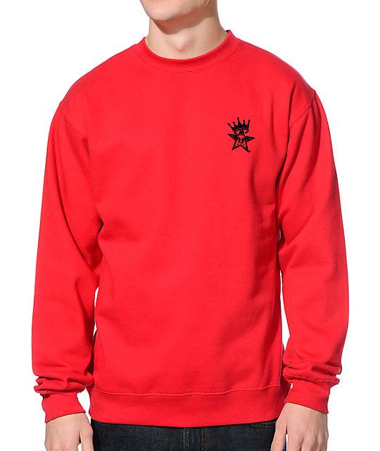 Obey Star Crown Red Crew Neck Sweatshirt at Zumiez : PDP